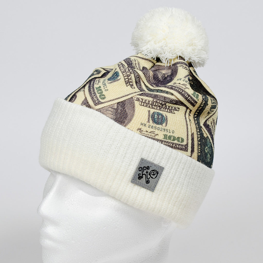 Ape Sht 'Benny $100' Printed Beanie Hat in Off White