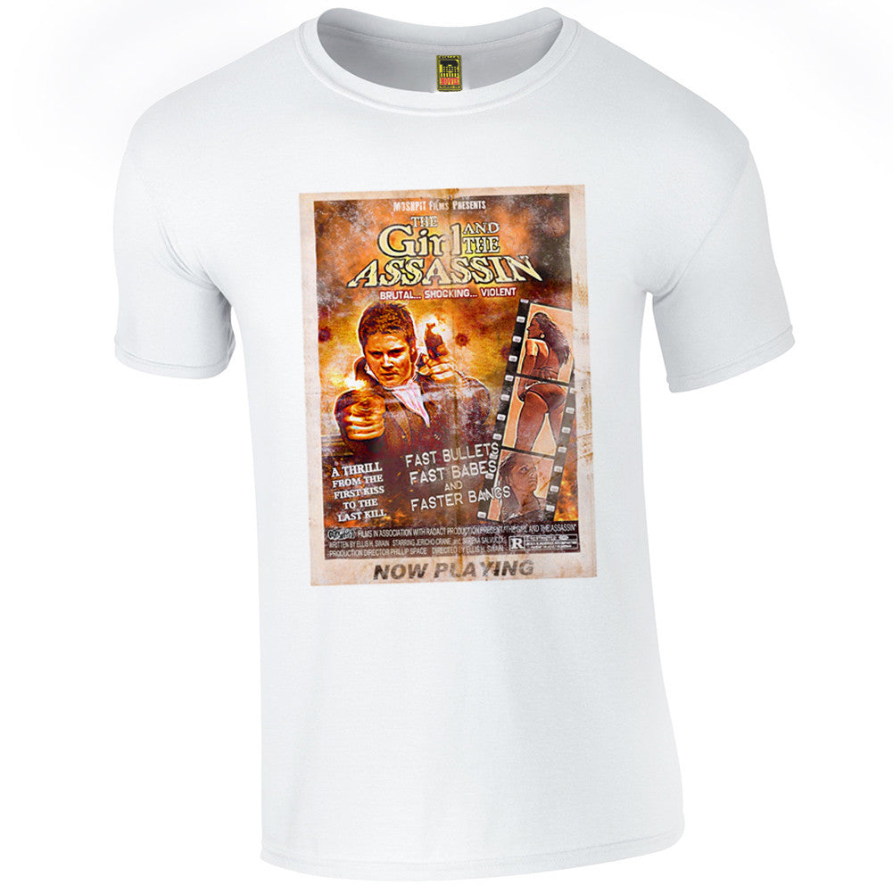 B-Movie 'Girl and the Assassin' White T-Shirt