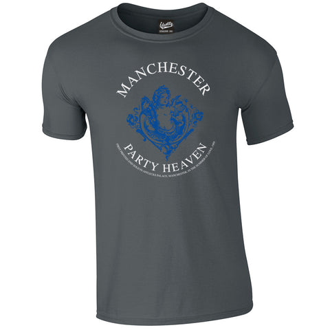 Identity 'Manchester Party Heaven Blue Print' T-Shirt - Front Print Only