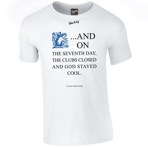 Classic Identity 'Seventh Day Blue Print' T-Shirt - Front Print Only