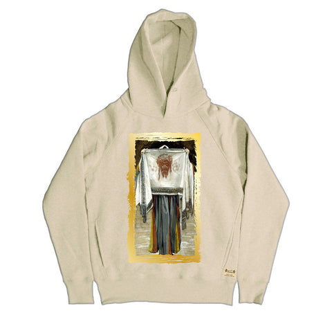 Ikons 'The Holy Face' Vintage White Hooded Sweatshirt from our Ikons range of restored old masters as worn by Ian Brown of the Stone Roses