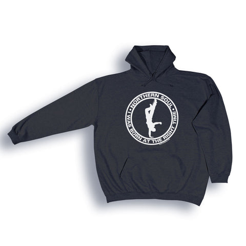 "Northern Soul ""I was born at the right time"" Hoodie from the Identity Big Time Collection - Sizes from 2XL to 6XL"