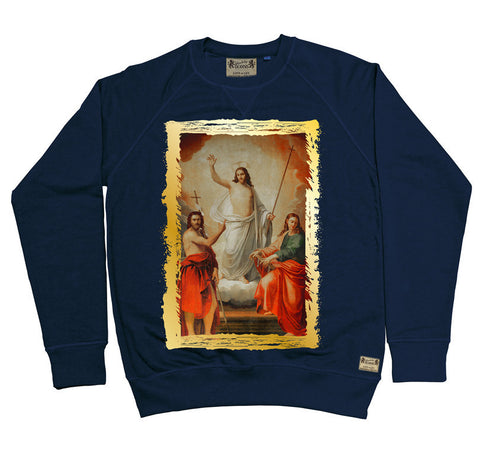 Ikons 'The Saviour with Two Saint John's' Navy Sweatshirt