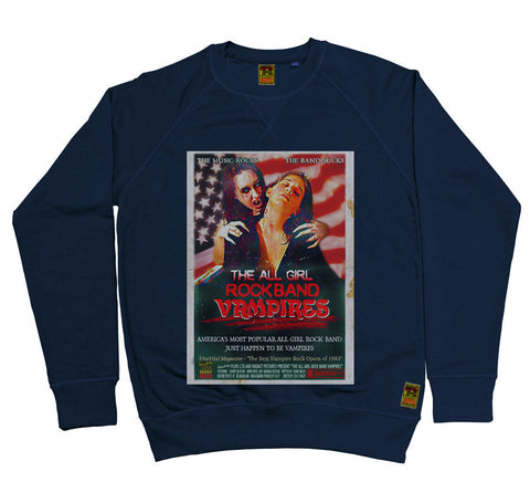 B-Movie 'All Girl Rock Band Vampires' Navy Sweatshirt