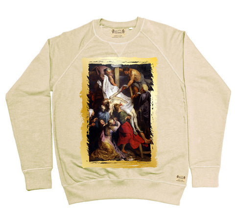 Ikons 'La Descente de Croix' Vintage White Sweatshirt from our Ikons range of restored old masters as worn by Ian Brown of the Stone Roses