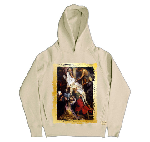 Ikons 'La Descente de Croix' Vintage White Hooded Sweatshirt from our Ikons range of restored old masters as worn by Ian Brown of the Stone Roses