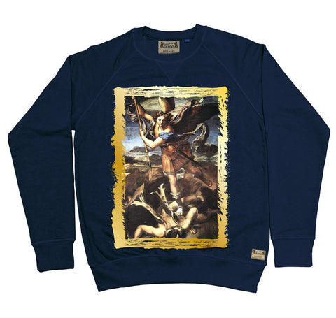Ikons 'St. Michael Trampling The Dragon' Navy Sweatshirt from our Ikons range of restored old masters as worn by Ian Brown of the Stone Roses