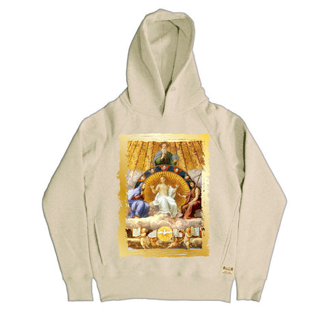 Ikons 'Christ Glorified' Vintage White Hooded Sweatshirt from our Ikons range of restored old masters as worn by Ian Brown of the Stone Roses