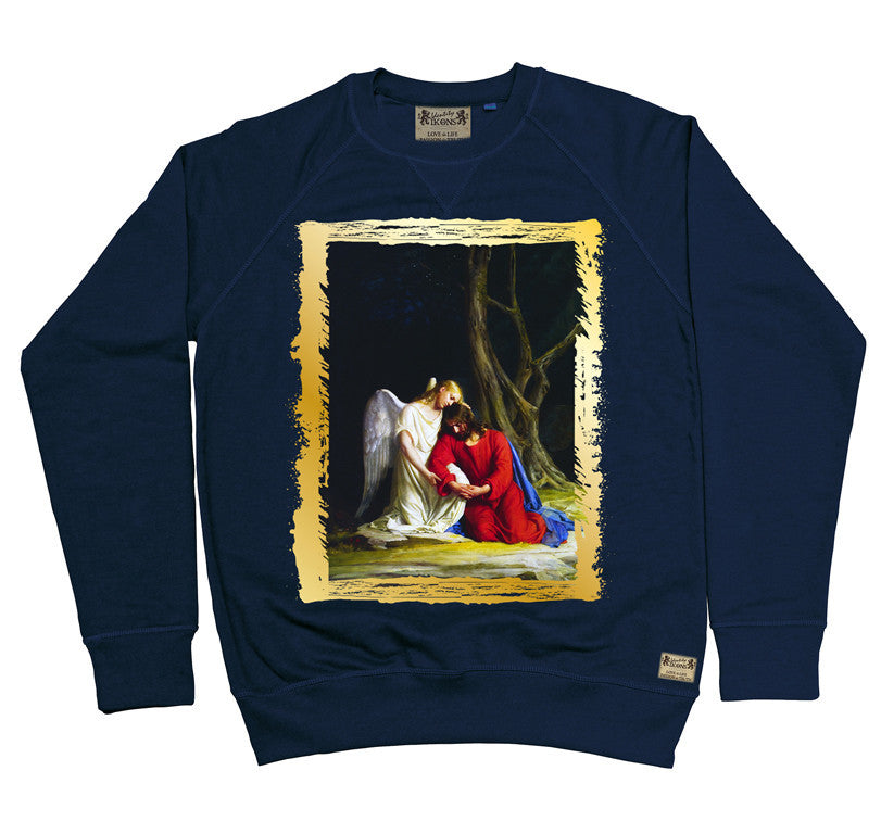 Ikons 'Gethsemene' Navy Sweatshirt from our Ikons range of restored old masters as worn by Ian Brown of the Stone Roses