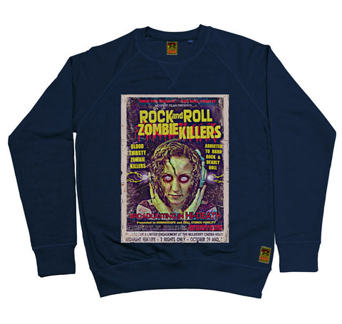 B-Movie 'Rock And Roll Zombie Killers' Navy Sweatshirt