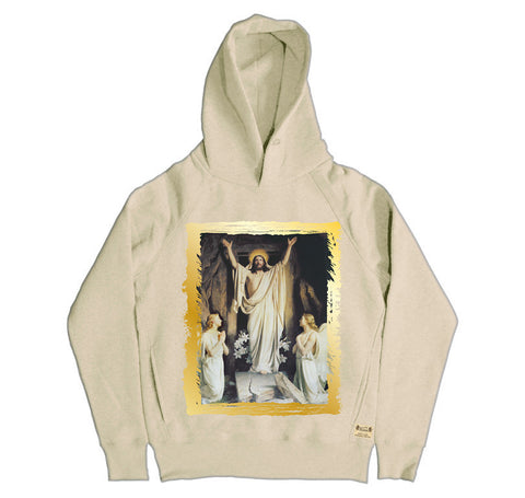 Ikons 'Resurrection' Vintage White Hooded Sweatshirt from our Ikons range of restored old masters as worn by Ian Brown of the Stone Roses