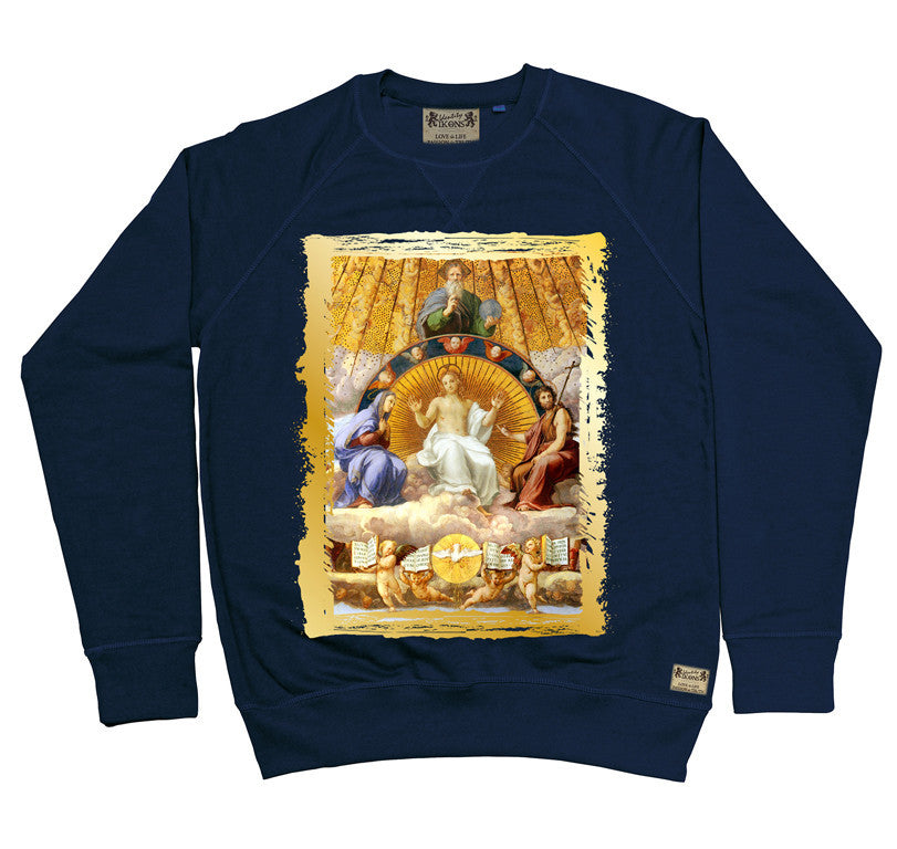 Ikons 'Christ Glorified' Navy Sweatshirt from our Ikons range of restored old masters as worn by Ian Brown of the Stone Roses
