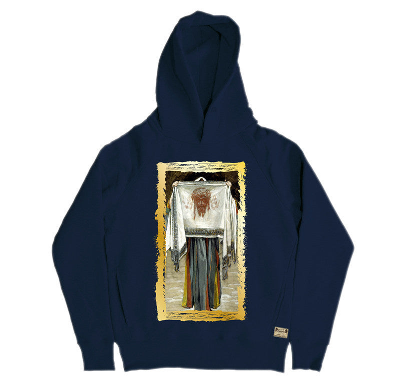 Ikons 'The Holy Face' Navy Hooded Sweatshirt from our Ikons range of restored old masters as worn by Ian Brown of the Stone Roses
