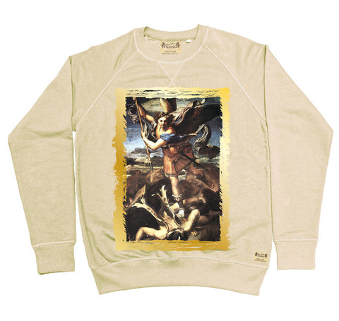 Ikons 'St. Michael Trampling The Dragon' Vintage White Sweatshirt