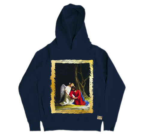Ikons 'Gethsemene' Navy Hooded Sweatshirt from our Ikons range of restored old masters as worn by Ian Brown of the Stone Roses