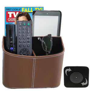 Evelots Rotating TV Remote Organizer-IPad/IPhone/Book-5 Sections-Faux Leather