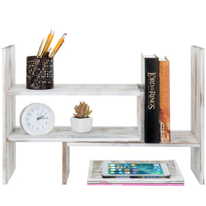 Whitewashed Wood Adjustable Desktop Office Organizer Display Shelf