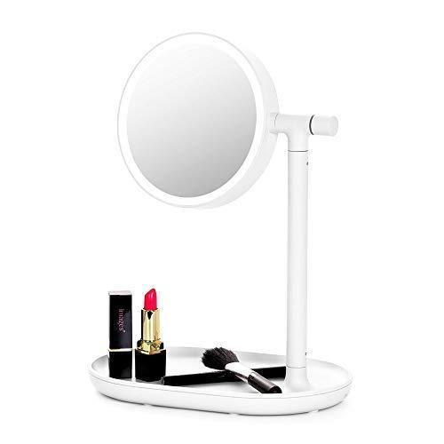 Save lighted makeup mirror mirror with cosmetic organizer tray 1x 3x magnification usb charging 270 degree adjustable led light makeup vanity for desk or tabletop white