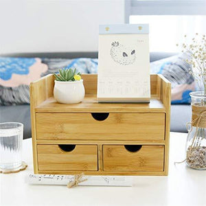 Storage 100 natural bamboo wood shelf organizer for desk with drawers mini desk storage for office supplies toiletries crafts etc great for desk vanity tabletop in home or office
