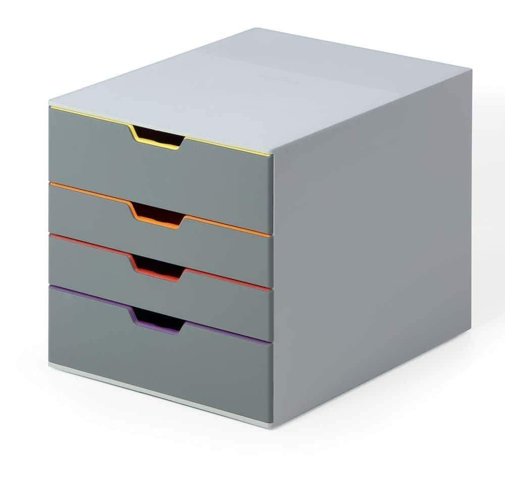 Great durable desktop drawer organizer varicolor 4 compartments with removable labels 11 w x 14 d x 11 375 h gray multicolored 760427