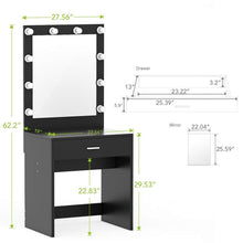 Load image into Gallery viewer, Buy tribesigns vanity set with lighted mirror makeup vanity dressing table dresser desk with large drawer for bedroom black 10 cool led bulbs