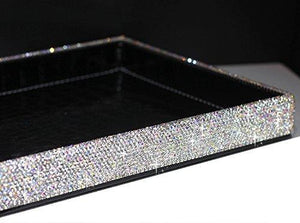 Heavy duty bestblingbling classic bling rhinestone jewelry or makeup storage box organizer display storage case with lock for desk or table silver
