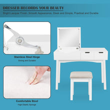 Load image into Gallery viewer, Save on 39 17inch vanity dressing table set with flip top mirror makeup table writing desk 2 drawers 1 large storage space with drop organizers cushioned stool easy assembly white