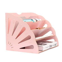 Load image into Gallery viewer, Purchase 5 sections assembly file sorter buckle design office wood file organizer document desktop folder for home students diy organization fan shaped mail letter desk file holder pink