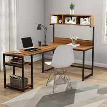 Load image into Gallery viewer, Discover the best tribesigns l shaped desk with hutch 68 corner computer desk gaming table workstation with storage bookshelf for home office dark walnut