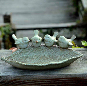 Shop for zoele ceramic rustic leaf bird feeder desk accessory ashtray jewelry organizer key storage box soap dish soap box home outdoor decoration