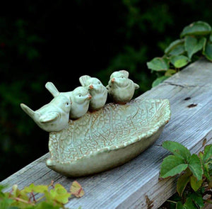 Selection zoele ceramic rustic leaf bird feeder desk accessory ashtray jewelry organizer key storage box soap dish soap box home outdoor decoration