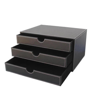 Results unionbasic multi functional pu leather wooden desk organizer file cabinet office supplies desktop storage organizer box with drawer plain black 3 drawer