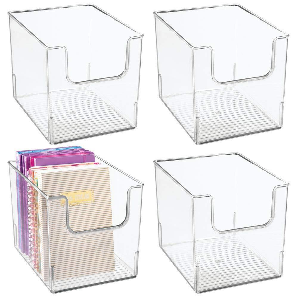 The best mdesign plastic open front home office storage bin container desk organizer tote for storing gel pens erasers tape pens pencils highlighters markers 8 wide 4 pack clear