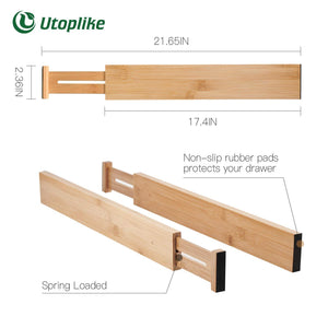 Selection utoplike 4 pack bamboo kitchen drawer dividers 17 5 21 65in adjustable drawer organizers spring loaded works in kitchen dresser bathroom bedroom baby drawer desk