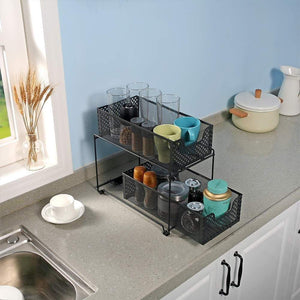 On amazon 2 tier organizer baskets with mesh sliding drawers ideal cabinet countertop pantry under the sink and desktop organizer for bathroom kitchen office