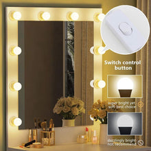 Load image into Gallery viewer, Online shopping tribesigns vanity set with lighted mirror makeup vanity dressing table dresser desk with large drawer for bedroom white 10 warm led bulb