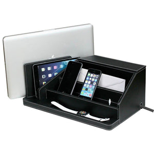Shop for g u s all in one charging station valet and desktop organizer multiple finishes available for laptops tablets phone and wearable technology black leatherette