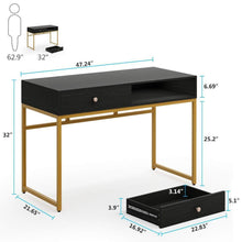 Load image into Gallery viewer, Shop here tribesigns computer desk modern simple home office gold desk study table writing desk workstation with 2 storage drawers makeup vanity console table 47 inch black