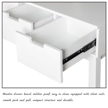 Load image into Gallery viewer, Related vanity beauty station dresing table vanity set with flip top mirror 1 large organization 2 drawers makeup dresser writing desk white flip mirror