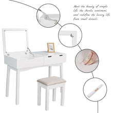 Load image into Gallery viewer, Results vanity beauty station dresing table vanity set with flip top mirror 1 large organization 2 drawers makeup dresser writing desk white flip mirror