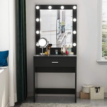 Load image into Gallery viewer, Discover the tribesigns vanity set with lighted mirror makeup vanity dressing table dresser desk with large drawer for bedroom black 10 cool led bulbs