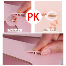 Load image into Gallery viewer, Save 5 sections assembly file sorter buckle design office wood file organizer document desktop folder for home students diy organization fan shaped mail letter desk file holder pink