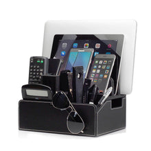 Load image into Gallery viewer, Great mobilevision charging station executive stand w extension dock desktop organizer for smartphones tablets includes usb port charger