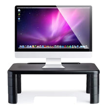Load image into Gallery viewer, Save on computer desk monitor stand riser with height adjustable feet office storage organizer shelf for desktop printer screen tv tablet holder black 4 pack