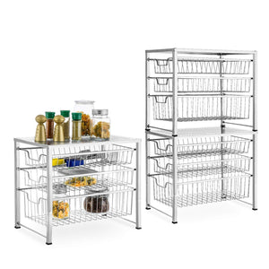 Results bextsware cabinet basket organizer with 3 tier wire grid sliding drawer multi function stackable mesh storage organizer for kitchen counter desktop bathroom under sinkchrome
