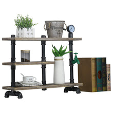 Load image into Gallery viewer, On amazon mbqq 3 tier industrial pipe wood shelf desk organizer 24 office organization and storage shelf desktop display shelves flower stand kitchen shelf countertop bookcase desktop racks