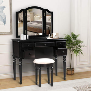 Discover harper bright designs vanity set with 5 drawers make up vanity table make up dressing table desk vanity with mirror and cushioned stool for women girls black