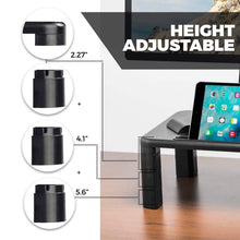 Load image into Gallery viewer, Shop computer desk monitor stand riser with height adjustable feet office storage organizer shelf for desktop printer screen tv tablet holder black 4 pack
