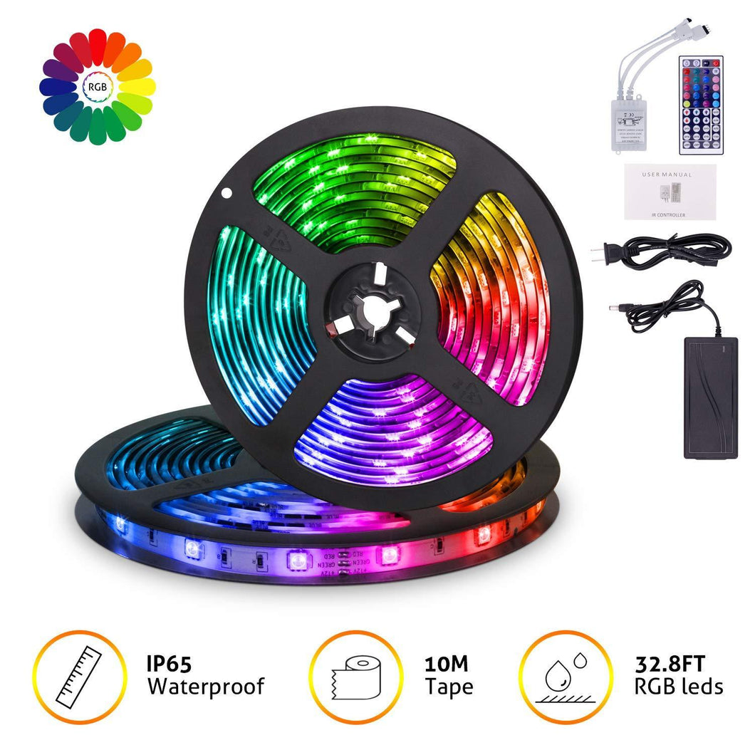 Save mingopro led strip lights 32 8ft 10m 300 leds smd5050 rgb strip lights ip65 waterproof flexible strip lighting for home kitchen tv desk table dining room bed room