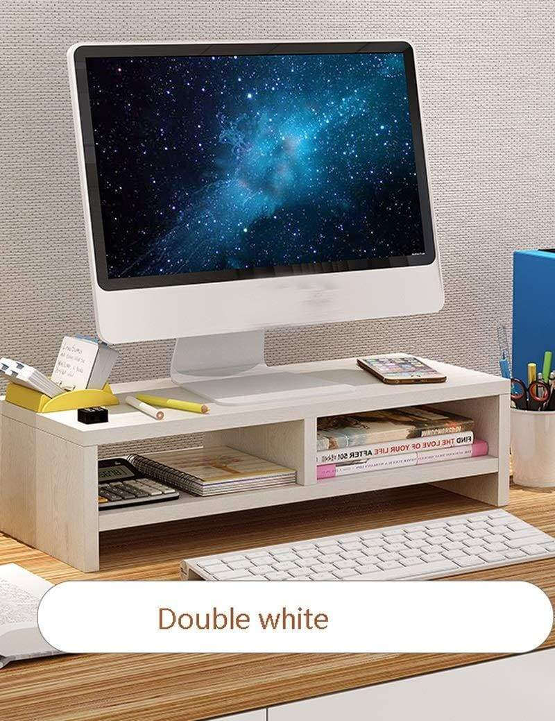 Products wood monitor stand riser storage organizer office computer desk laptop printer stand desktop container 50cmx20cmx13 2cm color white